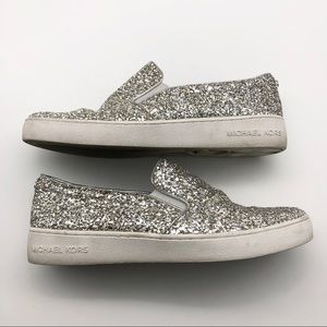Michael Kors Gold & Silver Glitter Loafers, 7.5